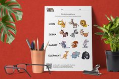 Circle the Picture – Wild Animals Sandbox, Wild Animals, Elephant, Campaign, Content, Teaching, Medium, Words, Creative