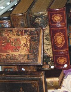 Glorious, aged, leather bound antique books.