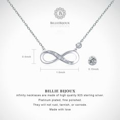 """adc18b7c5d04a Billie Bijoux 925 Sterling Silver Necklace Forever Love"""" Infinity Heart  Love Pendant White Gold Plated Diamond Women Necklace Gift for Mother's Day"""