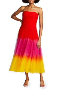 B59YB Ralph Lauren Collection Clementine Dip-Dyed Tulle Strapless Dress Ralph Lauren Collection, Tulle Dress, Strapless Dress Formal, Formal Dresses, Dip Dye, Neiman Marcus, Bodice, Luxury Fashion, Menswear