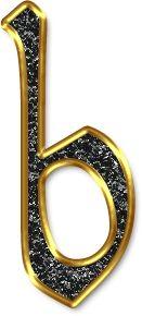 Alfabeto Negro con Orilla Dorada. Letras minúsculas. Letra b.