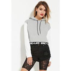 Forever 21 Women's  Eric + Lani Cropped Hoodie ($55) ❤ liked on Polyvore featuring tops, hoodies, hooded sweatshirt, fleece lined hoodies, long hoodie, white hoodie and cropped hoodie