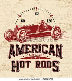 T-shirt graphics. vintage race car for printing.vector old school race poster.retro race car set.T-shirt printing designs.