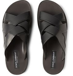 Dolce & GabbanaLeather Crisscross Slide Sandals in black