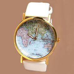 Map Patterned Watch with Round Dial and Leather Watch Band for Women, WHITE in Women's Watches | DressLily.com