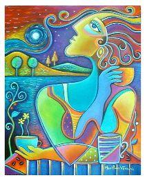 """CAFE A LA LUZ DE LA LUNA (Cafe under Moonlight) 20"""" X 16"""" Acrylic on canvas by Marlina Vera"""