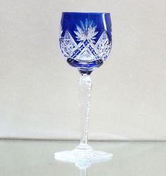 Art Deco Römer Überfangglas Kristall Josephinenhütte Antikglas, Kunstglas, blau