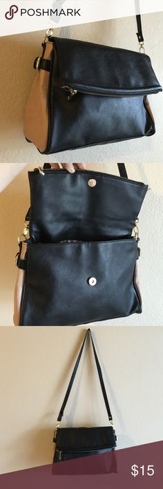 Two tone fashion purse Amazing bag. Nude/black. Inside clean, worn a couple of times. Has a flaw on on side (photos) no brand Bags