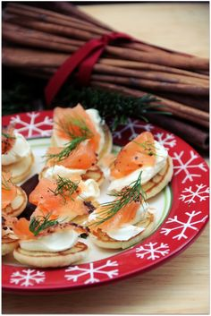 Scottish birch and juniper smoked salmon and cream cheese blinis
