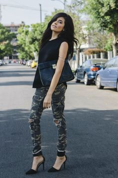 Dress up camo jeans with black heels & top = love this from spazmag.com!