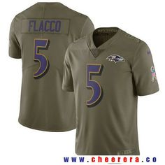 Men's Baltimore Ravens #5 Joe Flacco Olive 2017 Salute To Service Stitched NFL Nike Limited Jersey