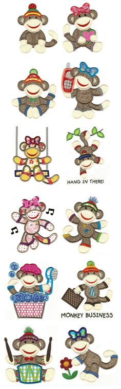Designs by JuJu Sock Monkeys Applique Too machine embroidery designs