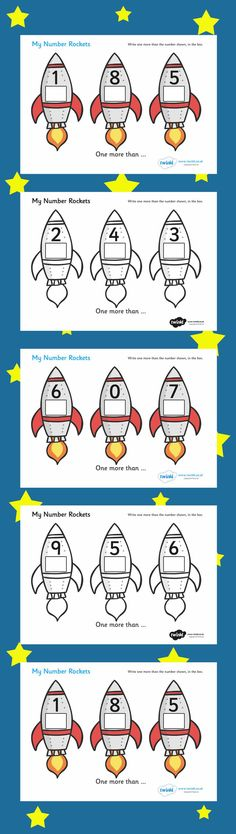 The child will write one more than the number shown on the rocket, in the box provided. Great to use alongside the other number rocket resources. Space Projects, Space Crafts, Math Addition, Addition And Subtraction, Outer Space Theme, Bible Crafts, Color Changing Led, Home Schooling, Constellations