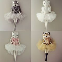 the Wildling collection, Lupa, Stella, Juliette and Roxanne, handmade fabric cloth dolls, heirloom dolls, product