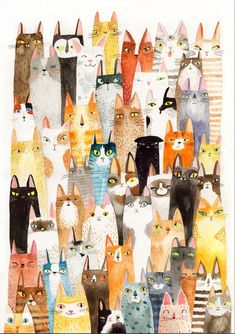 Lots of Colorful Cats Print by Surfing Sloth