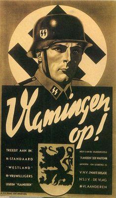 """Werbepropagandaplakat für die Flämische Waffen-SS. Die 6. SS-Freiwilligen-Sturmbrigade Langemarck und die 27. SS-Freiwilligen-Grenadier-Division """"Langemarck"""" (flämische Nr. 1). Beide Divisionen wurden fast vollständig in Pommern aufgerieben."""