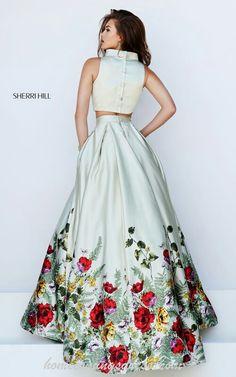 1eda7b7a99 Two Piece Floral Print Sherri Hill 50270 Prom Dress