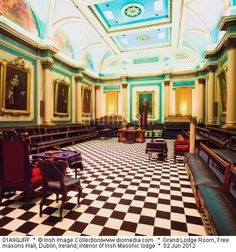 Grand Lodge Room, Freemasons Hall, Dublin, Ireland; Interior of Irish Masonic lodge