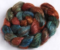 Brown ALPACA Bleached Tussah Silk, luxury hand painted combed top, roving fiber 110g. £14.25, via Etsy.