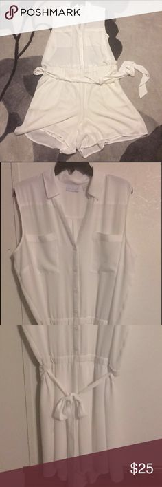 White Romper White romper shorts button down and tie at the waist, lined shorts New York & Company Shorts