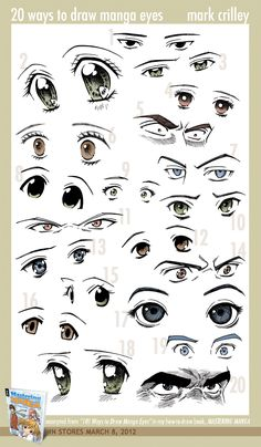 20 Ways to Draw Manga Eyes by markcrilley.deviantart.com