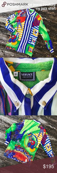 "Vintage Versace Jeans Couture NY Jazz Shirt RARE VINTAGE VERSACE! Semi sheer long sleeve loose fit shirt with gold Medusa buttons at the collar and sleeves. Street art graffiti ""sky's the limit"" on the back. Jazz musicians all over. Hidden blue button closure. 100% viscose. Made in Italy. Note, there are some small imperfections on the back of the right sleeve, as shown. Small spot on the front bottom hem as shown, should come out with dry cleaning. Length is 31"", bust is 20"" laid flat. Sold…"