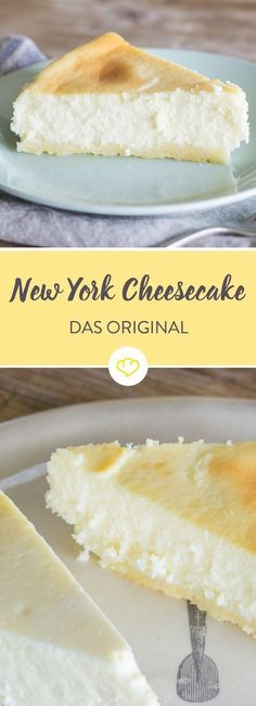 The only real cheesecake - New York or American?- Der einzig wahre Cheesecake – New York oder American? Only the combination of cream cheese and cream, baking in a water bath and hours of cooling give the New York cheesecake its creaminess. New York Kuchen, Cheesecake Recipes, Dessert Recipes, Dessert Blog, Cheesecake Cookies, Cheesecake Bites, American Cheesecake, Classic Cheesecake, Cake Vegan