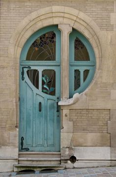 Art Nouveau door at 6 rue du lac, Brussels
