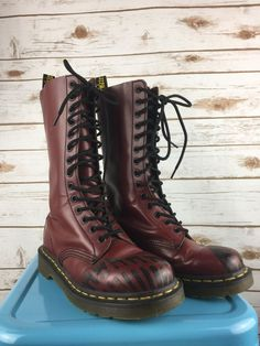 Doc Dr Martens Oxblood Footprint Boots Sales Sample Rare 14 Hole Size 6 Women's #DrMartens #Boots