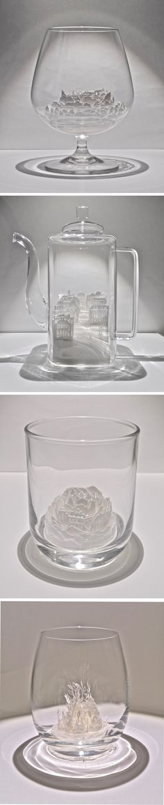 Paper Cities Enclosed in Glass Vessels by Ayumi Shibata