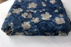 Indian Hand Printed Cotton Fabric Anokhi Indigo Blue Floral Print Fabric India #Handmade