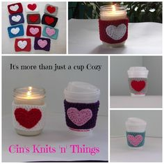 Heart Cup Cozy by Cin's Knits n Things.  Keep your hands safe from Hot Coffee Cups. Feel good about helping the environment too because you can use it over and over! They are made from Cotton/Acrylic Blend yarn so the the cozy holds its shape and keeps the coffee warm. They fit most paper cups.#cinsknitsnthings. Be sure to check out my other items at :http://cinsknitsnthings.storenvy.com/
