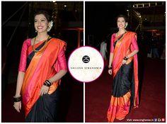 Actress Hamsa Nandini wearing a bespoke Sailesh Singhania Kora Silk 3-shuttle border creation .