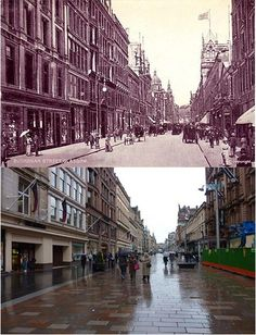 Buchanan street then and now Glasgow Central Station, Glasgow City Centre, Glasgow Scotland, Edinburgh, Old Pictures, Old Photos, Buchanan Street, Amazing Nature, Folklore