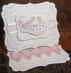 Tattered Lace Dies: Baby easel card by Brenda