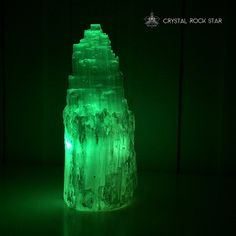 Rainbow Light Selenite Tower Lamp with Four by CrystalRockStar