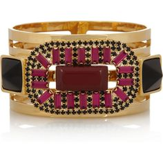 Marni Crystal and resin gold-tone cutout bangle found on Polyvore