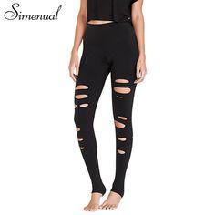 119a33eee00 Simenual Cut out hole summer legging harajuku slim black fitness women  leggings sportswear elastic athleisure push up jeggings