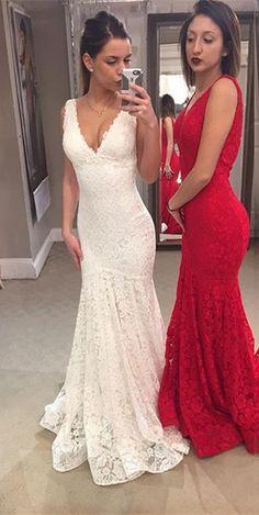 long prom dress, 2017 prom dress, white lace prom dress, red lace prom dress, formal evening dress