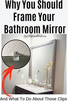 Find out what to do about those pesky mirror clips! Learn how to frame your builder grade mirror in this DIY guide. This cheap and easy update requires simple tools and little know-how - the perfect DIY for anyone! Bathroom Mirrors Diy, Diy Bathroom Remodel, Diy Mirror, Diy Bathroom Decor, Bathroom Ideas, Bathroom Cabinets, Mirror Ideas, Bathroom Layout, Bathroom Organization