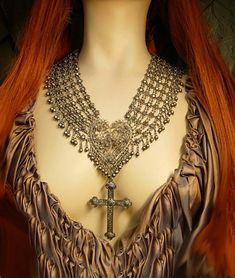 ANtique Medieval NEcklace Sacred heart Gothic cross jeweled collar HUGE statement necklace. $475.00, via Etsy.