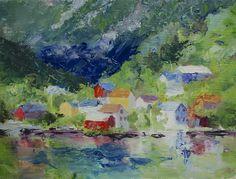Oil Painting, 6x8 framed, Hardjanger Fjord Village, Norway, www.carolhopper.com