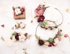 Winter wedding set Burgundy flower crown Accessories set   Etsy