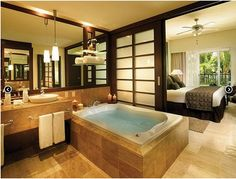 Open Plan Bathroom and Bedroom. This is #WOW! #Luxury Bathroom
