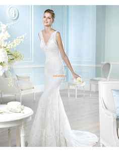 V-Ausschnitt Birne Mit Paillette Designer Brautkleider