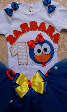 kit Galinha Pintadinha com saia Tutu body + Arquinho Ou faixa