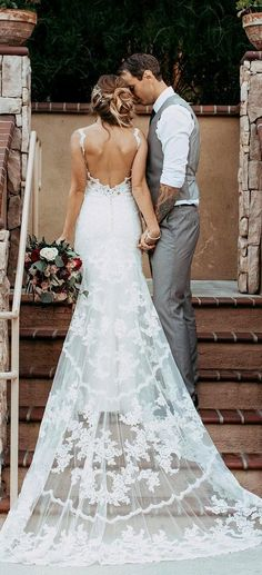 stunning open low back lace wedding dresses #weddingdestinations