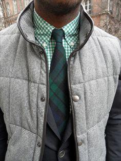 Texture, meet pattern. Green on Greene on gray on Grey.