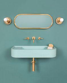 Cheap Home Decor 9 Colorful Bathroom Sink Ideas That Put Traditional White Basins to Shame Bathroom Red, Bathroom Colors, Modern Bathroom, Colorful Bathroom, Bathroom Ideas, Small Bathrooms, Art Deco Bathroom, Mermaid Bathroom, Eclectic Bathroom