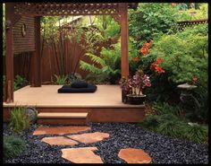 Japanese Meditation Garden | To enlarge the feel of the garden and create a sense of separation, we ...